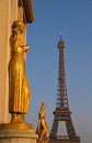 Golden statues at the Trocadero Stock Images