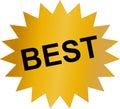 Golden sticker with Best text