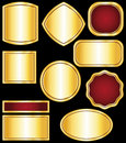 Golden stickers and medals Royalty Free Stock Photo