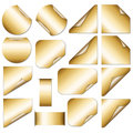 Golden stickers set of with curves Stock Image