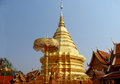 Golden stupa in a Buddhist Temple Wat Phrathat Doi Suthep Royalty Free Stock Photo