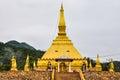 Golden stupa in Luang Nam Tha, Laos Royalty Free Stock Photo