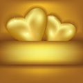 Golden stylish background with hearts festive greeting or invitation card love card for valentines day two Stock Photos