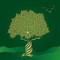 Golden stylized tree on green background Royalty Free Stock Photo