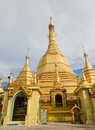 Golden sule pagoda in burma yangon with shrine and peace bell Stock Images