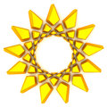 Golden sun frame, 3d Royalty Free Stock Photography