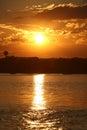 Golden sunset over bay