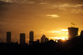 Golden sunset sky in Jakarta Royalty Free Stock Photo