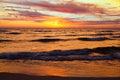 Golden Sunset on Lake Michigan. Michigan USA Royalty Free Stock Photo