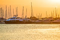 Golden sunset at yacht club Royalty Free Stock Photo