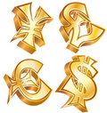 Golden symbols of world currencies Royalty Free Stock Photo