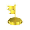 Golden table flag stand with flying flags isolated luxury gold two stair base and flagpole Royalty Free Stock Images