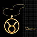 Golden Taurus Necklace  Royalty Free Stock Photo