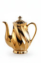 Golden teapot with white background Stock Image