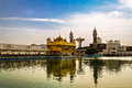 Golden temple in amritsar punjab india morning view of with people Royalty Free Stock Photos