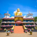 Golden temple in dambulla sri lanka the gold plated buddha statue Stock Photos