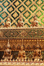Golden temple gable in thailand closeup the buddhist Stock Images