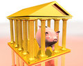 Golden temple and piggy-bank Royalty Free Stock Image
