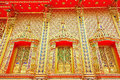 Golden temple thai art at wall Stock Photos