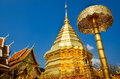 Golden temple Wat phra That in Doi Suthep, Chiang Mai, Thailand Royalty Free Stock Photo