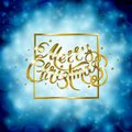 Golden text on blue background. Merry Christmas and Happy New Year lettering.