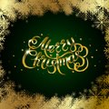 Golden text on green background. Merry Christmas and Happy New Year lettering.