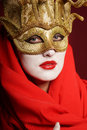 Golden theater mask closeup portrait of sexy woman in for desire concept Royalty Free Stock Images