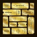 Golden tickets. Admit one gold movie ticket set. Vip party coupon vector templates Royalty Free Stock Photo