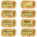 Golden tickets many isolated in white background Stock Photo