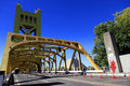 Golden tower bridge sacramento from front looking through Stock Photography