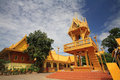 Golden tower drum against blue sky at of wat pak nam joe low in chachoengsao province thailand Royalty Free Stock Photos