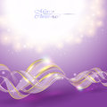 Golden transparent bow on purple christmas background Stock Images
