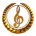Golden Treble Clef. 3D Model. Royalty Free Stock Photo