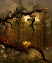 The golden tree enchanted nature series Royalty Free Stock Image