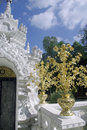 Golden tree on white temple thailand Royalty Free Stock Photo