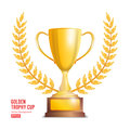 Golden Trophy Cup With Laurel Wreath. Award Design. Winner Concept. Isolated On White Background. Vector Illustration