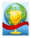 Golden Trophy Red Banner Earth Stock Photo
