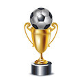 Golden trophy and soccer ball Stock Image
