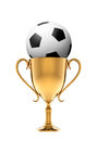Golden trophy with soccer ball Royalty Free Stock Photo