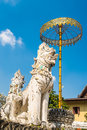Golden umbrela and animals statue at Wat Saen Fang temple in Chiang Mai, Thailand. Royalty Free Stock Photo