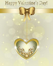 Golden valentine gift card with ribbon and text Stock Image