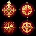 Golden vector compass rose Stock Image