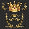 Golden vector heraldic elements. Kings crown, laurel wreath Royalty Free Stock Photo