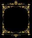 Golden vector ornate royal fleur de lys frame black background Royalty Free Stock Photo