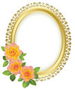 Golden vector oval frame with flowers Royalty Free Stock Image