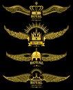 Golden vector wing crown royal logo