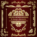Golden vintage borders & design elements. Stock Photos