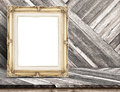Golden Vintage frame at Diagonal tropical Wood Table top at Wood Royalty Free Stock Photo