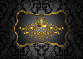 Golden vintage invitation card with lot of detailed elements on black background. Royal crown and swirls in baroque style