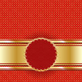 Golden vintage template for cover or postcard. Lattice of gold on a red background. Royalty Free Stock Photo